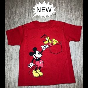 Red Mickey & Pluto ShortSleeve Tee, NWT.